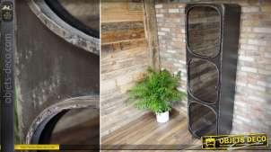 Vitrine colonne industrielle et rétro en métal noir avec trois niveaux 198 cm