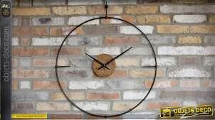 Grande horloge murale en bois et métal design rétro 82 cm