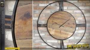 Horloge géante en bois et métal de style rétro et rustique Ø 110 cm
