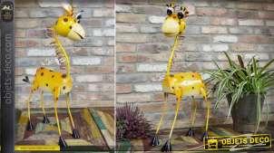 Animal décoratif stylisé en métal peint : la girafe 79 cm