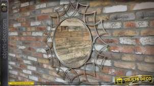 Grand miroir rond design patine gris argenté Ø 95 cm