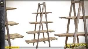 Etagère en chêne sur pieds, 4 niveaux de rangement 165cm
