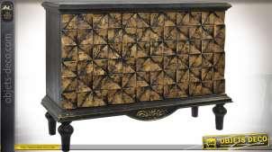 Buffet bas rétro 2 portes patine noir et doré motifs géométriques en relief