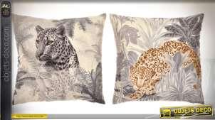 Duo de coussins 40 x 40 cm illustrations panthère et léopard
