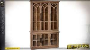 Grande vitrine deux-corps en sapin avec fenêtrage style gothique 191 cm