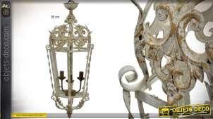 Grande lanterne électrifiée rétro à 3 feux, style baroque patine beige vieillie 85 cm