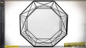 Miroir octogonal motifs géométriques filaires patine noire Ø 55,5 cm