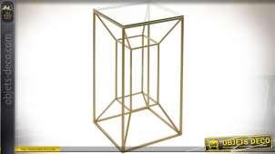 Table sellette carrée design en métal doré et verre 67 cm