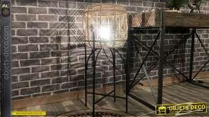 Lampadaire exotique en rotin naturel sur support en métal noir 90 cm