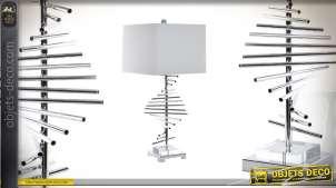 Lampe de table design Collection Precious Lamps en metal chromé et abat jour en lin