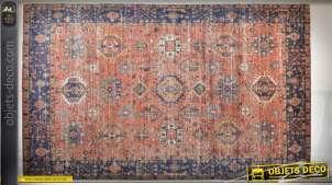 Grand tapis en coton 290 x 200 cm style kilim motifs tribaux