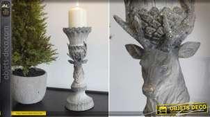Bougeoir en résine imitation bois gris oxydé à motif de tête de cerf 30 cm