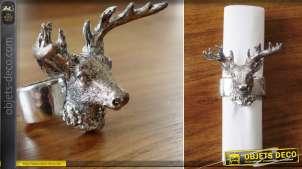 Lot de 4 anneaux à serviettes en forme de bague avec une tête de cerf argenté