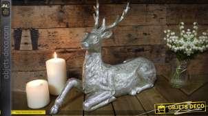Statuette argentée de cerf couché grande décoration de Noël 45 cm
