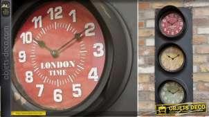 Horloge à 3 cadrans en forme de feux tricolores ferroviaires 82 cm