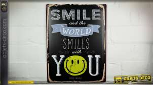 Plaque déco murale vintage en métal : Smile and the World smiles with You !