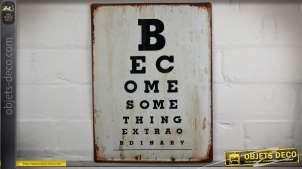 Plaque déco murale vintage en métal : panneau ophtalmo acuité visuelle 40 cm