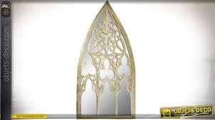 Miroir mural en bois inspiration style gothique patine dorée vieillie 120 cm