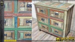 Commode à 6 tiroirs en bois recyclé patines variées et vieillies 84 cm