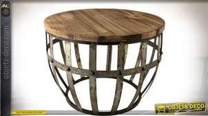 Table bout de canapé en bois ancien et métal vieilli Ø 45 cm