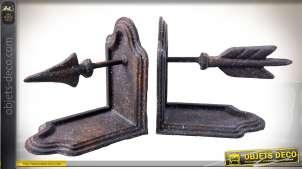 Serre-livre en métal motif flèche aspect objet de brocante et récup' 25 cm