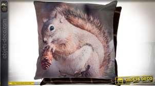 Housse de coussin 45 x 45 cm 100 % polyester motif animalier écureuil
