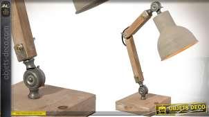 Lampe de bureau rétro articulée en bois et métal 47 cm