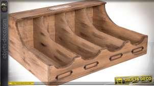 Range-couverts en bois de style rétro avec porte-étiquettes 40 cm