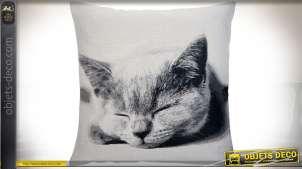 Grande housse de coussin 60x60 cm illustration noir et blanc thème chats