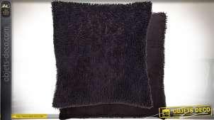 Housse de coussin gris foncé 45x45 à fibres épaisses en polyester