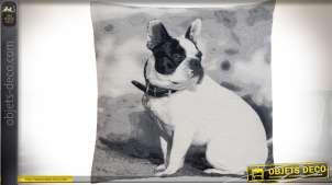 Grande housse de coussin photo NB bouledogue anglais 60 x 60 cm