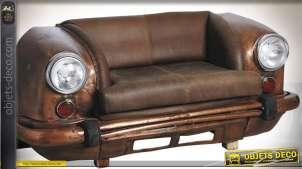 Canapé calandre de voiture en métal et cuir, coloris cuivré et marron 170 cm