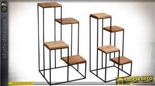 Série de 2 sellettes en bois recyclé et métal avec 4 plateaux chacune 78 cm