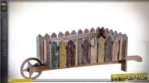 Jardinière brouette en bois recyclé multicolore 68 cm
