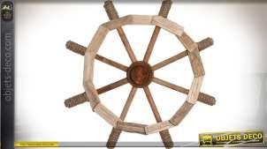 Barre de gouvernail en bois flotté et cordage pour déco murale Ø 50 cm