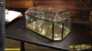 Coffret vitrine en verre et métal finition laiton, de style vintage 31 cm