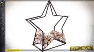 Porte-bûches en métal en forme d'étoile 75 cm