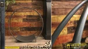 Rack à bûches en métal de forme circulaire de Ø71cm, de style moderne design, finition anthracite effet brossé