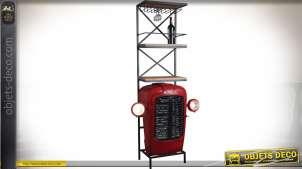 Meuble bar en bois et métal avec calandre de tracteur coloris rouge 180 cm