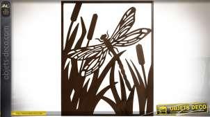 Décoration murale en métal ajouré noir vieilli : libellule 80 cm