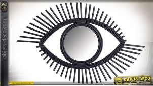 Miroir oeil en rotin noir style rétro 70 cm