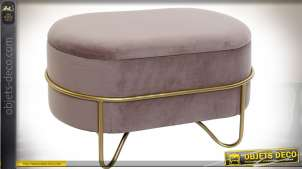 Petite banquette d'appoint ovale design en métal et velours vieux rose 72 cm