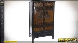 Armoire rustique orme et métal coloris brun antique sous 2 portes 180 cm