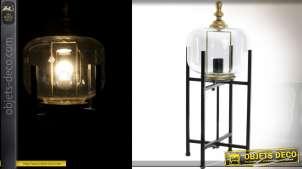 Lampe rétro en verre et métal sur support à quatre pieds 64,5 cm