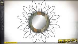 Miroir rond en bois et métal avec encadrement effet floral stylisé Ø 81 cm