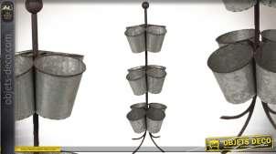 Jardinière en colonne à 12 pots aspect zinc vieilli 88 cm