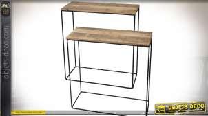 Série de deux tables consoles en bois recyclé et métal style indus 65 cm