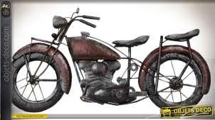 Décoration murale moto ancienne en métal finition oxydée 79 cm
