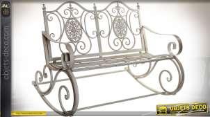 Banc de jardin à bascule en métal et fer forgé style rétro coloris gris clair vieilli 118 cm