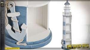 Meuble étagère d'appoint en forme de grand phare maritime bleu et blanc 139 cm